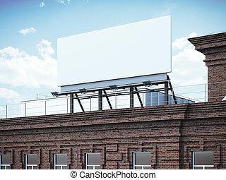 Blank billboard standing on brick building. 3d rendering