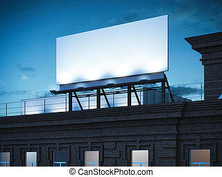 Blank billboard standing on classic brick building. 3d rendering