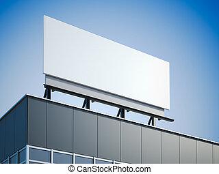 Blank billboard standing on the modern office building