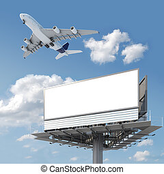 blank billboard with airplane on the sky - Big empty...
