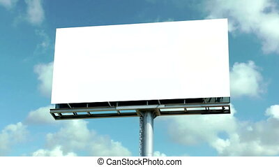 Blank Billboard with time lapse clouds in the background.