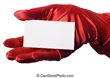 Blank business card in elegant female hand gloved with sparkly red satin. Isolated.