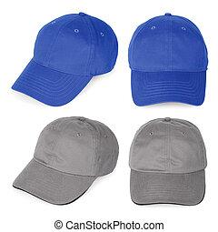 blank, blå, og, gråne, baseball caps