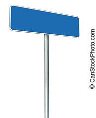 blank, blå, vej underskriv, isoleret, store, hvid, ramme,...