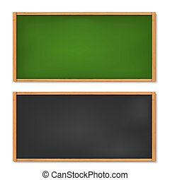 Blank black and green chalkboard with wooden frame - Vector...