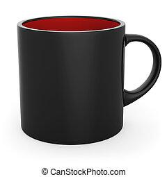 Blank black and red coffee mug