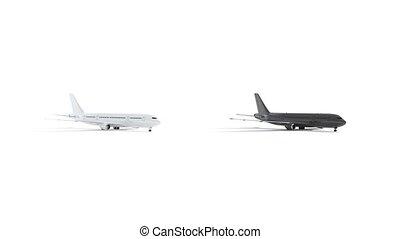 Blank black and white airplane mockup set, looped rotation, ...