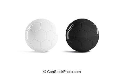Blank black and white glossy soccer ball mockup, looped ...