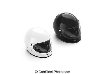 Blank black and white motorcycle helmet mockup set isolated