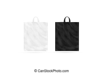 Blank black and white plastic bag with handle mockup isolated
