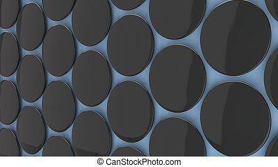 Blank black badge on blue background