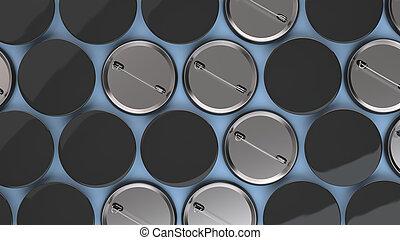 Blank black badges on blue background