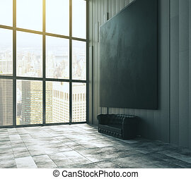 Blank black big picture above leather sofa in empty loft room with big windows and concrete floor