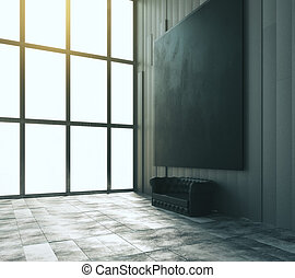 Blank black big picture with leather sofa and big window in modern room, mock up