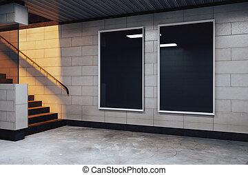 Blank black billboards in empty subway hall, mock up
