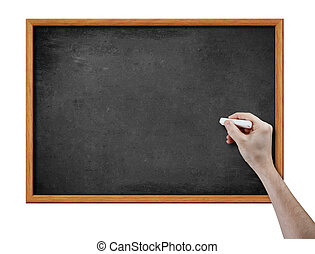 blank black board and hand with piece of chalk