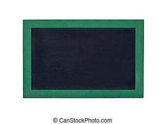 blank black board with green frame on a white background