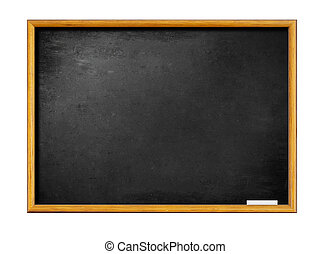 blank black board with wooden frame and piece of chalk -...