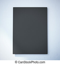 Blank black canvas on the white wall