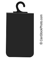 Blank Black Cardboard Sale Tag Empty Price Label Badge Background, Vertical Isolated Macro Closeup Copy Space, Large Detailed