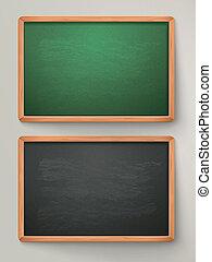 blank black chalkboard set