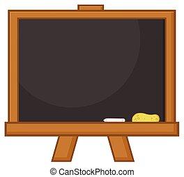 Blank Black Classroom Chalkboard Cartoon Design