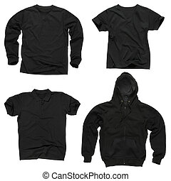 Blank black clothing - Photograph of four wrinkled blank...