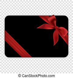 Blank black gift card template with red bow