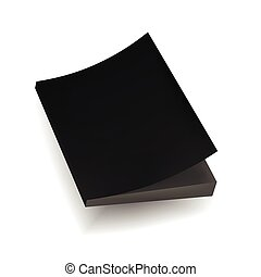 Blank Black Mock Up Cover Of Notebook, Magazine, Book, Booklet, Brochure. Illustration Isolated . Template Ready For Your Design.