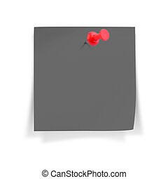 Blank black paper note with red pushpin