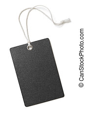 Blank black paper price or gift tag isolated
