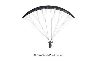 Blank black paraglider with harness mockup, looped rotation, 3d rendering. Empty adrenaline paragliding for speed fly mock up, isolated. Clear parachute wing with pilot for flight template.