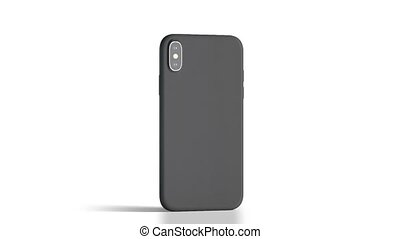 Blank black phone with matte case rotation, isolated, 3d...