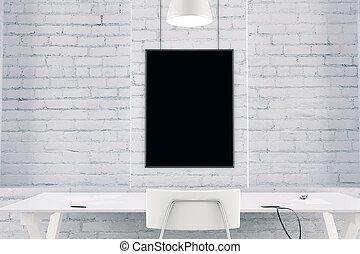 Blank black picture frame on a brick wall with table and chair, mock up