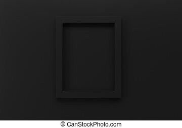 blank black picture frame on wall 3d rendering