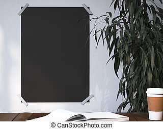 Blank black poster on a wall near workplace. 3d rendering