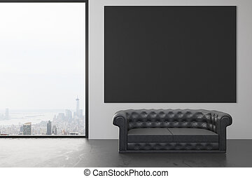 Blank black poster on the wall in loft room with black leather sofa and window in floor, mock up