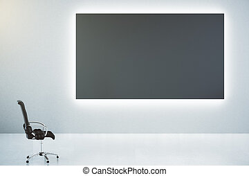 Blank black poster on white wall and classic leather chair, mock up
