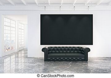 Blank black poster on white wall in empty loft room with black leather sofa, mock up