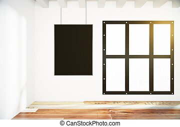 Blank black poster on white wall in empty loft room with wooden floor, mock up