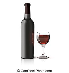 Blank black realistic bottle for red wine with glass isolated on white background. Vector