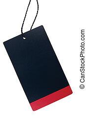 Blank Black Red Cardboard Sale Tag Empty Price Label Stripe Badge, Isolated Closeup Macro