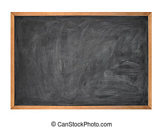 Blank Black School Chalk Board on White - A blank school...