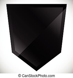 Blank black shield shape with gloss effect