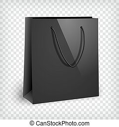 Blank black shopping bag mockup