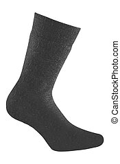 Blank black sock isolated on white background