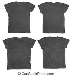 Blank black t-shirts front and back, ironed and wrinkled...
