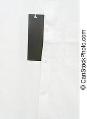 Blank Black Tag on White Shirt