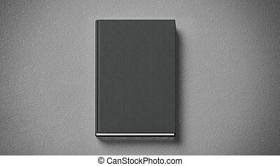 Blank black tissular hard cover book mock up, front side view
