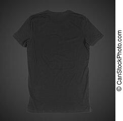 black tshirt - blank black tshirt front side on a black...